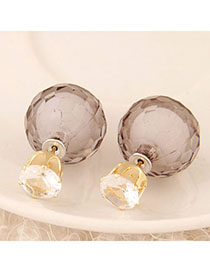 Political Gray Candy Color Diamond Decorated Round Shape Design Alloy Stud Earrings