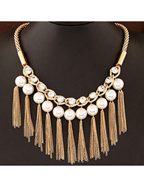 24k White Pearl Decorated Tassel Design Alloy Korean Necklaces
