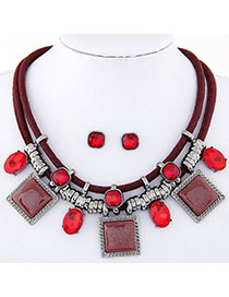 fashion Red Gemstone Decorated Square Shape Design