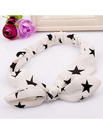 fabulous White Star Pattern Decorated Bowknot Design Fabric Hair band hair hoop