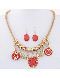 bohemia Red Gemstone Decorated Oval Shape Design Alloy Jewelry Sets