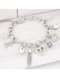 Korean Silver Color Diamond Decorated Heart Shape Design