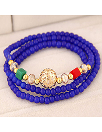 Korean Sapphire Blue Beads Decorated Multilayer Design Alloy Korean Fashion Bracelet