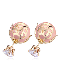 Korean Champagne Gold & Pink Round Shape Decorated Hollow Design Zircon Crystal Necklaces