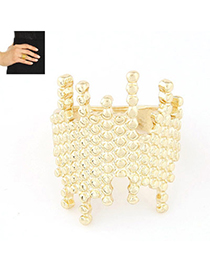 Occident Gold Color Irregular Shape Decorated Simple Design Alloy Korean Rings