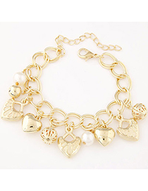 pretty Gold Color Pearl Decorated Heart Shape Design