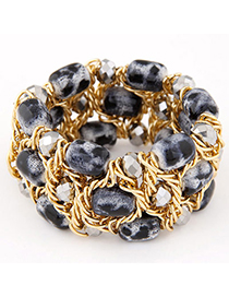 Occident Gray Beads Decoeated Weave Multilayer Design Alloy Korean Fashion Bracelet