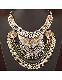retro Gold Color Diamond Decorated Multilayer Design