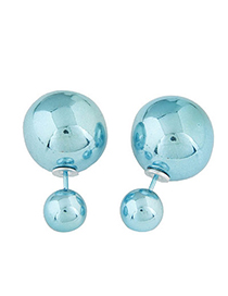 Occident Light Blue Round Shape Decorated Simple Design Alloy Stud Earrings