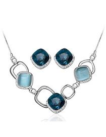 Boutique Blue Diamond Decorated Square Shape Design Alloy Jewelry Sets