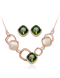 Boutique Green Diamond Decorated Square Shape Design Alloy Jewelry Sets