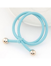 Casual Light Blue Beads Decorated Double Layer Design Rubber Band Hair Band Hair Hoop