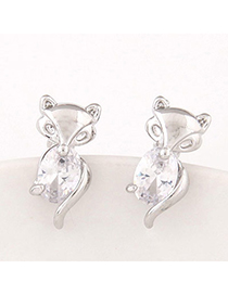 boutique Silver Color Diamond Decorated Fox Shape Design