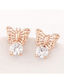 Gold Color Gold Color Butterfly Shape Decorated Hollow Out Design Alloy Stud Earrings