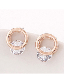 Trendy Gold Color Diamond Decorated Round Shape Design Alloy Stud Earrings