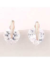 Fresh Gold Color Diamond Decorated Heart Shape Design Alloy Stud Earrings