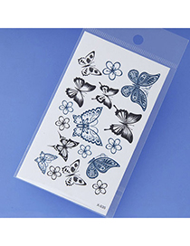 Lovely Black & Blue Butterfly Pattern Simple Design Tape Tattoos Body Art