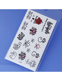 Lovely Black & Red Flower Pattern Simple Design Tape Tattoos Body Art