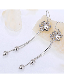 Charming Silver Color Flower Shape Decorated Tassel Design Cuprum Fashion Earrings