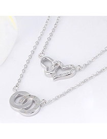 Elegant Silver Color Heart Shape Decorated Double Layer Design Cuprum Chains