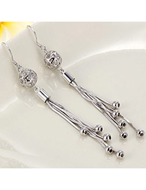 Tinsel Silver Color Tassel Decorated Hollow Out Design Cuprum Fashion Earrings