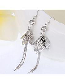 Vivid Silver Color Leaf Shape Decorated Tassel Design Cuprum Fashion Earrings