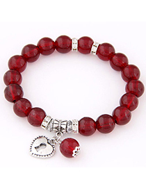 Fashion Claret-red Beads Decorated Heart Shape Design Alloy Korean Fashion Bracelet