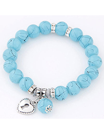 Fashion Blue Beads Decorated Heart Shape Design Alloy Korean Fashion Bracelet
