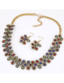 Occident Multicolor Diamond Decorated Flower Design Alloy Jewelry Sets