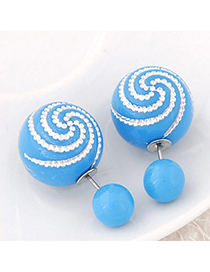 Occident Blue Diamond Decorated Round Shape Design Alloy Stud Earrings