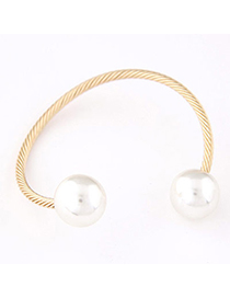 Trendy Champagne Gold Pearl Decorated Simple Design Alloy Fashion Bangles