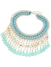 Bohemia Blue Waterdrop Shape Tassel Decorated Weave Design Alloy Bib Necklaces