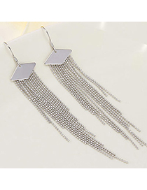 Delicate Silver Color Rhombus Shape Decorated Tassle Design Cuprum Fashion Earrings