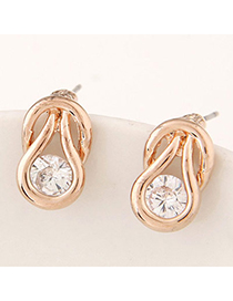Popular Gold Color Diamond Decorated Oval Shape Design Alloy Stud Earrings