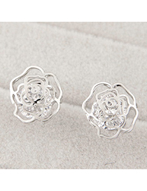 Delicate Silver Color Rose Shape Decorated Hollow Out Design Alloy Stud Earrings