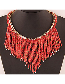 Bohemia Watermelon Red Beads Decorated Weave Tassle Design