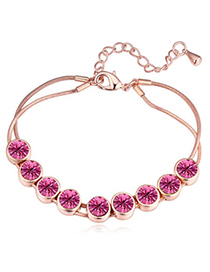 Glamour Rose Gold & Plum Red Diamond Decorated Simple Design Alloy Crystal Bracelets