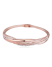 Brilliant Rose Gold & White Diamond Decorated Weave Design Alloy Crystal Bracelets