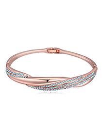 Brilliant Rose Gold & Blue Diamond Decorated Weave Design Alloy Crystal Bracelets
