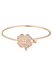 Popular Champagne Gold Diamond Decorated Clover Shape Design Alloy Crystal Bracelets