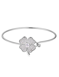 Popular White Diamond Decorated Clover Shape Design Alloy Crystal Bracelets