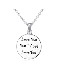 Superior Silver Color Letter Pattern Decorated Round Shape Design Alloy Crystal Necklaces
