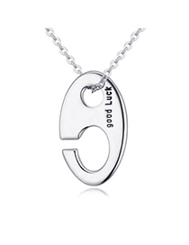 Superior Silver Color Oval Shape Decorated Hollow Out Design Alloy Crystal Necklaces