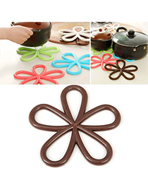 Tribal Brown Plum Flower Insulation Heat-Proof Pad PVC Household goods