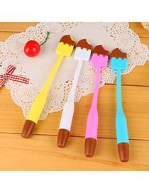 Masculine brown ice cream shape bend design plastic Writing Pens