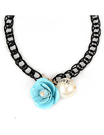 Goth Blue Flower Gemstone Pearl Pendant Design Alloy Korean Necklaces