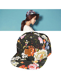 Quicksilve Black Flower Printed Simple Design Canvas Fashion Hats
