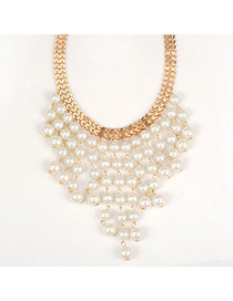 2012 White Pearl Curtain Pendant Design Alloy Bib Necklaces
