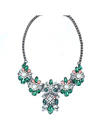 Quality Green Pearl Flower Decorated Alloy Fashion Necklaces