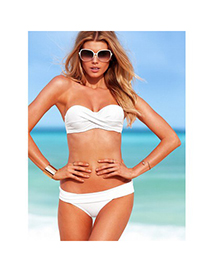 Concealed White Push Up Strapless Design Polyamide Fibre Sexy Bikini